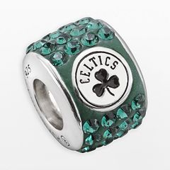 LogoArt Boston Celtics Sterling Silver Crystal Logo Bead - Made with Swarovski Crystals
