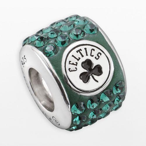 LogoArt Boston Celtics Sterling Silver Crystal Logo Bead - Made with Swarovski Crystals
