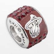 LogoArt Miami Heat Sterling Silver Crystal Logo Bead - Made with Swarovski Crystals