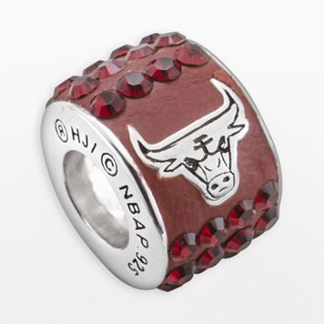 LogoArt Chicago Bulls Sterling Silver Crystal Logo Bead - Made with Swarovski Crystals