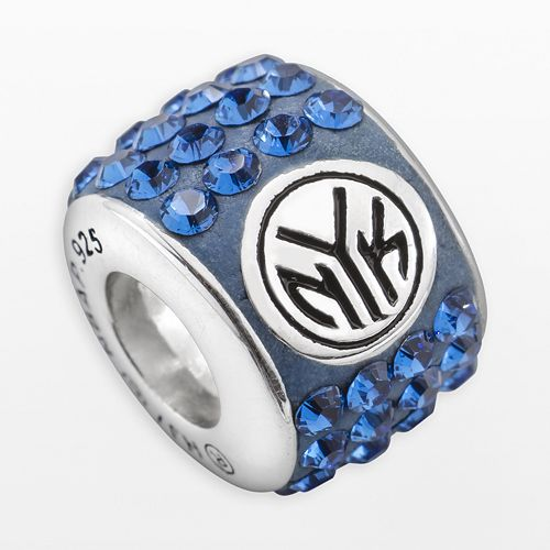 LogoArt New York Knicks Sterling Silver Crystal Logo Bead - Made with Swarovski Crystals
