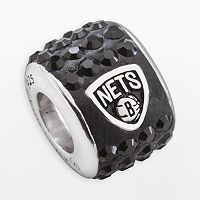 LogoArt Brooklyn Nets Sterling Silver Crystal Logo Bead - Made with Swarovski Crystals