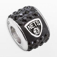 LogoArt Brooklyn Nets Sterling Silver Crystal Logo Bead - Made with Swarovski Crystals
