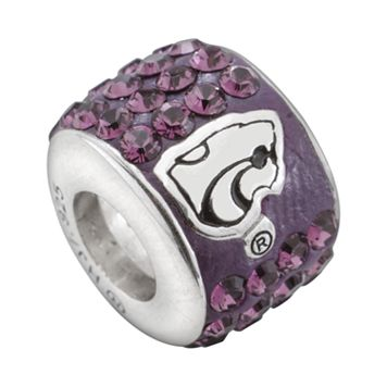 LogoArt Kansas State Wildcats Sterling Silver Crystal Logo Bead - Made with Swarovski Crystals