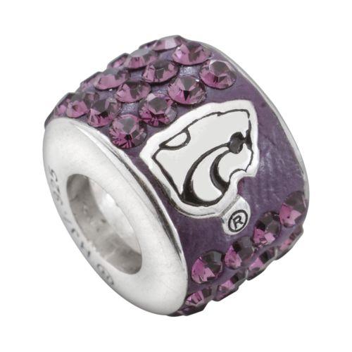 LogoArt Kansas State Wildcats Sterling Silver Crystal Logo Bead - Made with Swarovski Crystals