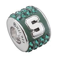 LogoArt Michigan State Spartans Sterling Silver Crystal Logo Bead - Made with Swarovski Crystals