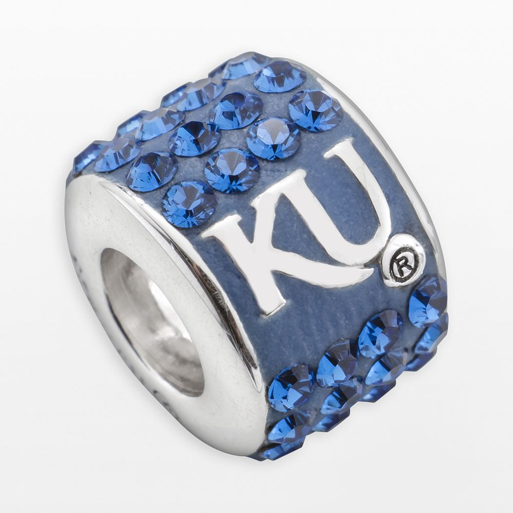 LogoArt Kansas Jayhawks Sterling Silver Crystal Logo Bead - Made with Swarovski Crystals