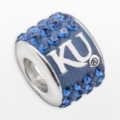LogoArt Kansas Jayhawks Sterling Silver Crystal Logo Bead - Made with Swarovski Crystals