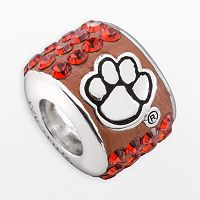 LogoArt Clemson Tigers Sterling Silver Crystal Logo Bead - Made with Swarovski Crystals