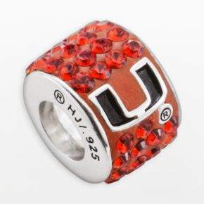 LogoArt Miami Hurricanes Sterling Silver Crystal Logo Bead - Made with Swarovski Crystals