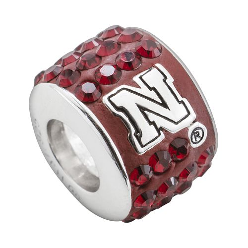 LogoArt Nebraska Cornhuskers Sterling Silver Crystal Logo Bead - Made with Swarovski Crystals