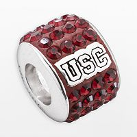 LogoArt USC Trojans Sterling Silver Crystal Logo Bead - Made with Swarovski Crystals