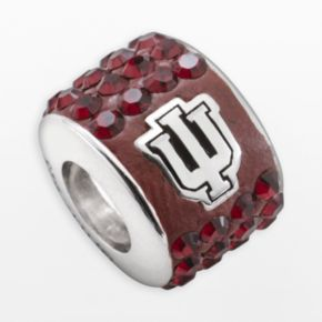 LogoArt Indiana Hoosiers Sterling Silver Crystal Logo Bead - Made with Swarovski Crystals