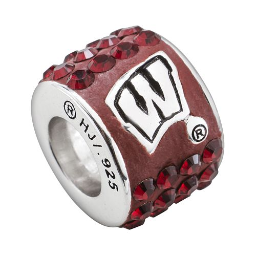 LogoArt Wisconsin Badgers Sterling Silver Crystal Logo Bead - Made with Swarovski Crystals