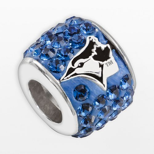 LogoArt Toronto Blue Jays Sterling Silver Crystal Logo Bead - Made with Swarovski Crystals