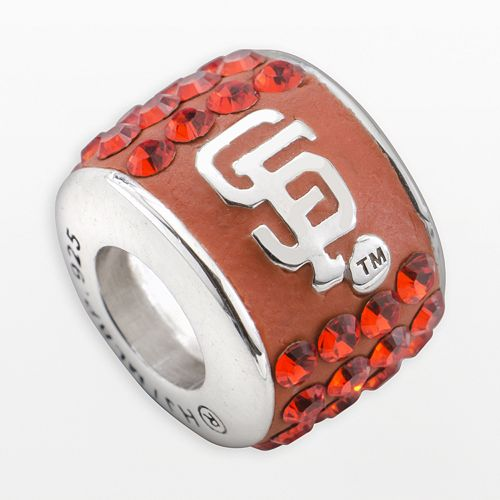 LogoArt San Francisco Giants Sterling Silver Crystal Logo Bead - Made with Swarovski Crystals