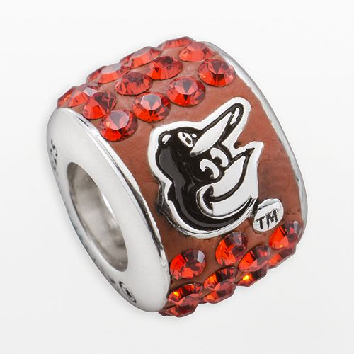 LogoArt Baltimore Orioles Sterling Silver Crystal Logo Bead - Made with Swarovski Crystals