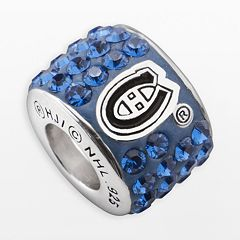 LogoArt Montreal Canadiens Sterling Silver Crystal Logo Bead - Made with Swarovski Crystals