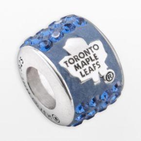 LogoArt Toronto Maple Leafs Sterling Silver Crystal Logo Bead - Made with Swarovski Crystals