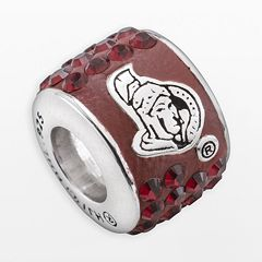 LogoArt Ottawa Senators Sterling Silver Crystal Logo Bead - Made with Swarovski Crystals