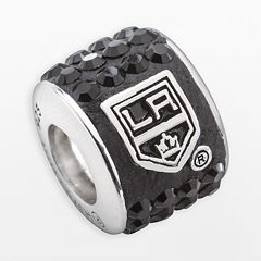 LogoArt Los Angeles Kings Sterling Silver Crystal Logo Bead - Made with Swarovski Crystals