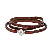 Stainless Steel & Brown Leather Lord's Prayer Wrap Bracelet