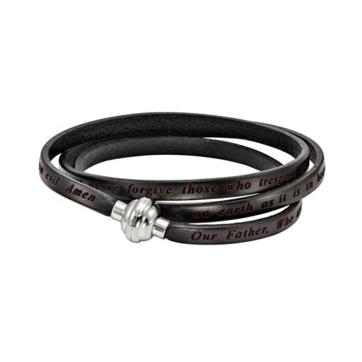 Stainless Steel and Black Leather Lord's Prayer Wrap Bracelet