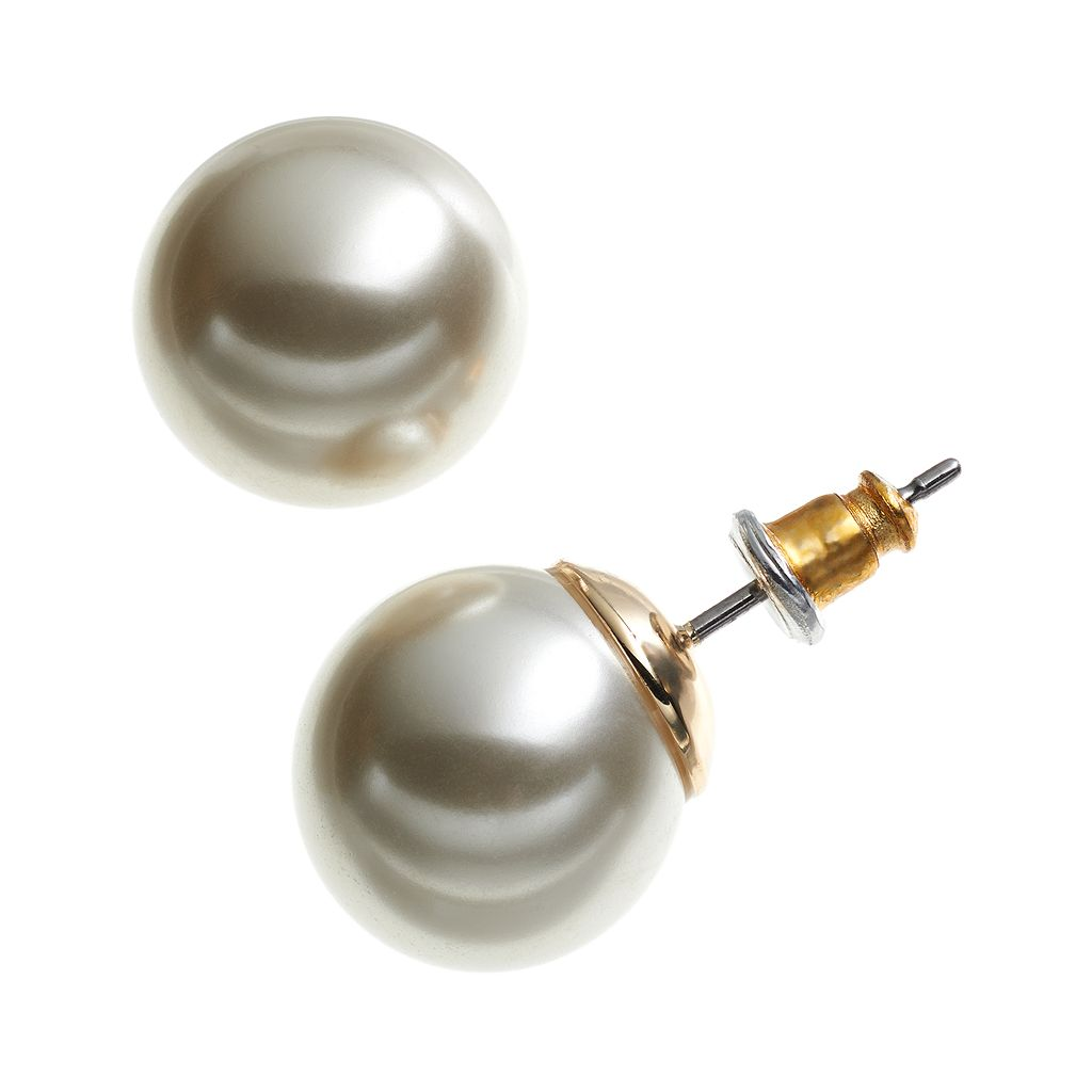 Dana Buchman Gold Tone Simulated Pearl Stud Earrings