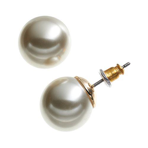 Dana Buchman Gold Tone Simulated Pearl Stud Earrings