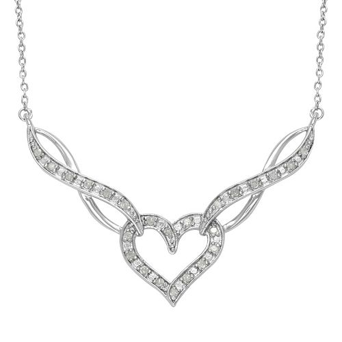 Sterling Silver 1/4-ct. T.W. Diamond Heart & Infinity Link Necklace