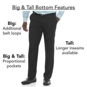 Big & Tall Savane Sharkskin Straight-Fit Flat-Front Dress Pants