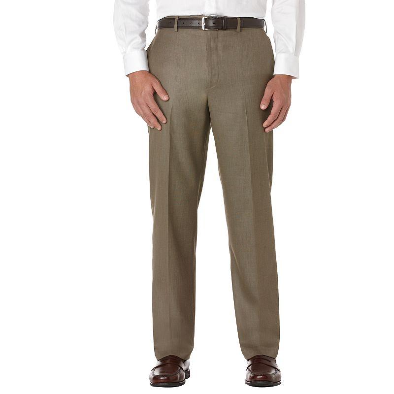 Savane Sharkskin Straight-Fit Flat-Front Dress Pants - Big & Tall