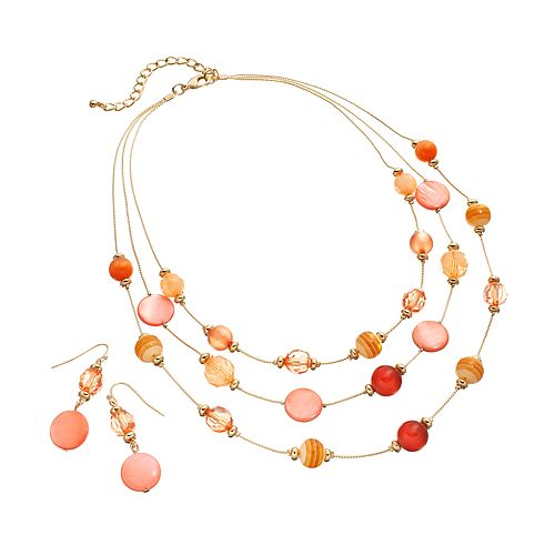 Gold Tone Bead Multistrand Necklace & Drop Earring Set
