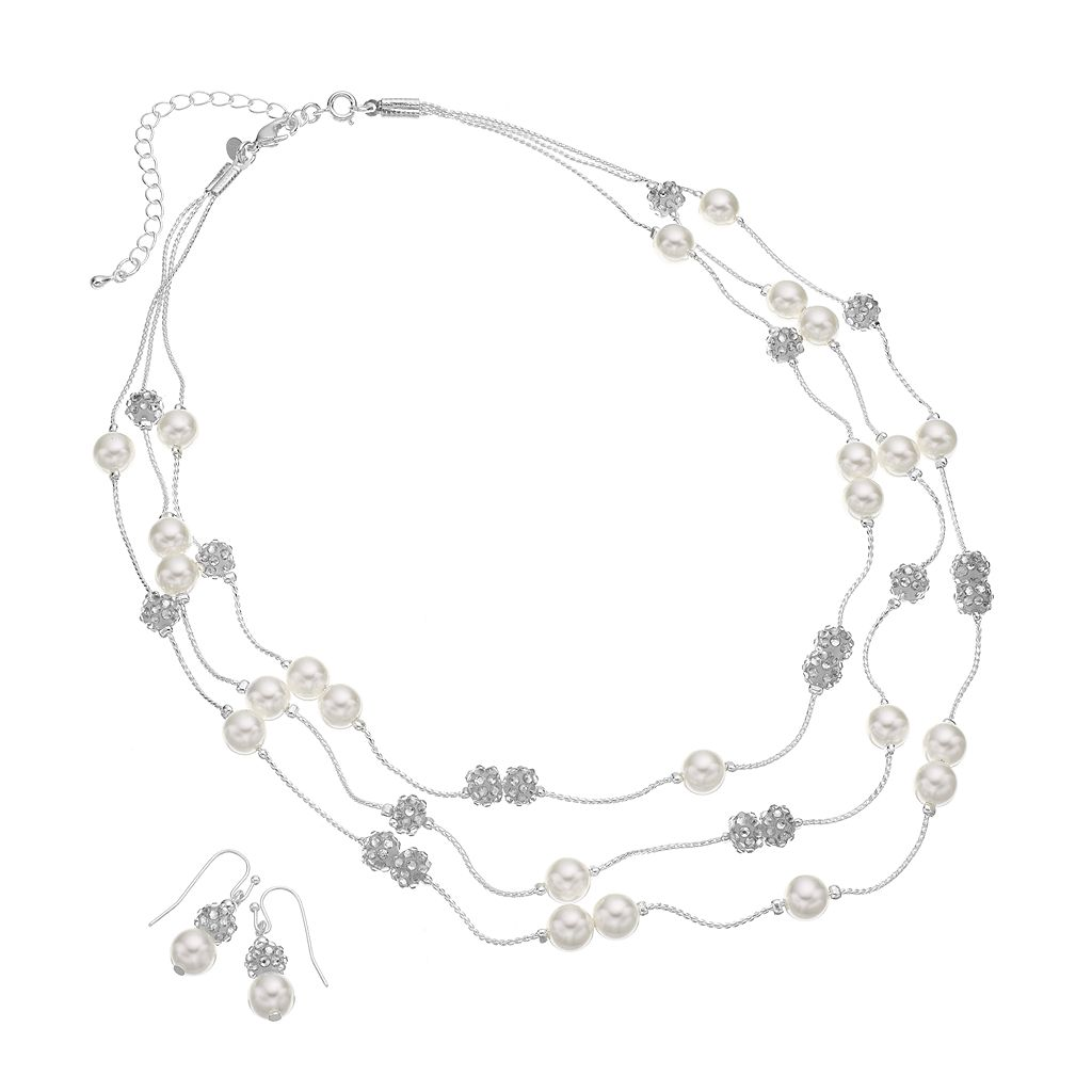 Silver Tone Simulated Crystal & Simulated Pearl Multistrand Necklace & Drop Earring Set