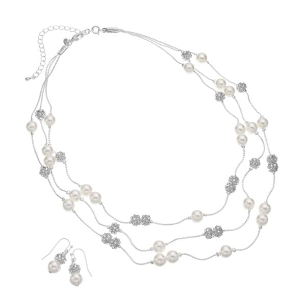 Silver Tone Simulated Crystal & Simulated Pearl