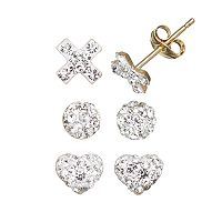 14k Gold-Bonded Sterling Silver Crystal Heart, X & Ball Stud Earring Set