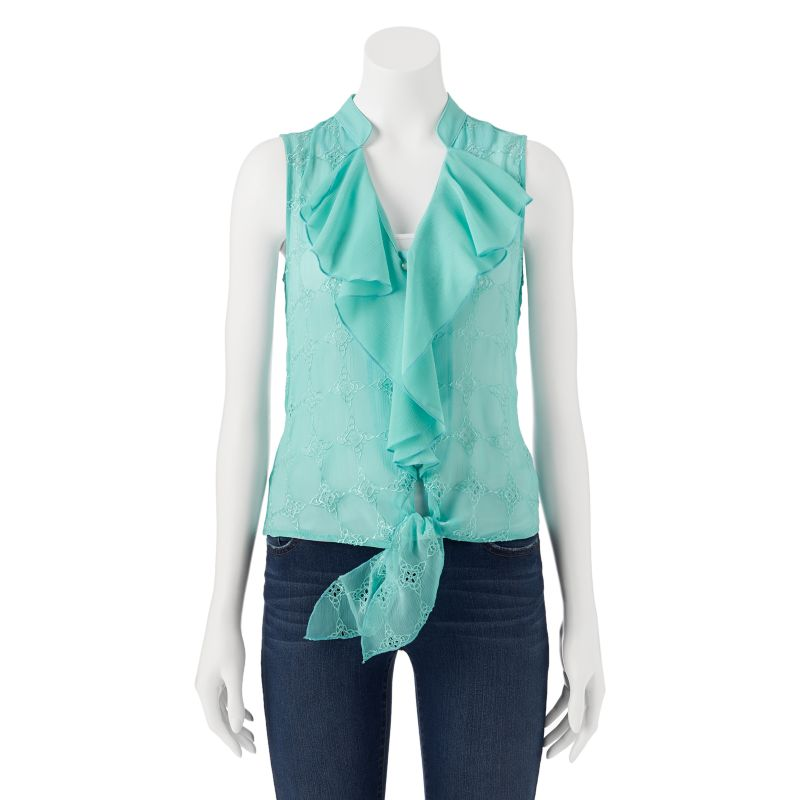 HeartSoul Embroidered Tie-Front Sleeveless Top - Juniors