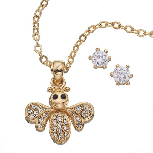 Gold Tone Simulated Crystal Bee Necklace and Stud Earring Set