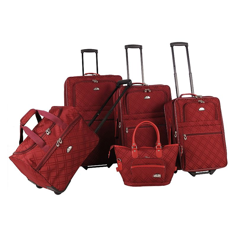 American Flyer Luggage, Pemberly Buckles 5-pc. Expandable Luggage Set, Red