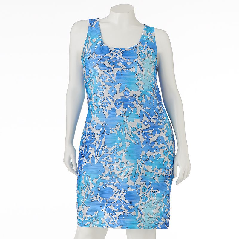 Jennifer Lopez Floral Pintuck Shift Dress - Women's Plus