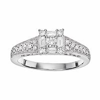 Cherish Always Diamond Square Halo Engagement Ring in 10k White Gold (1/2 ct. T.W)