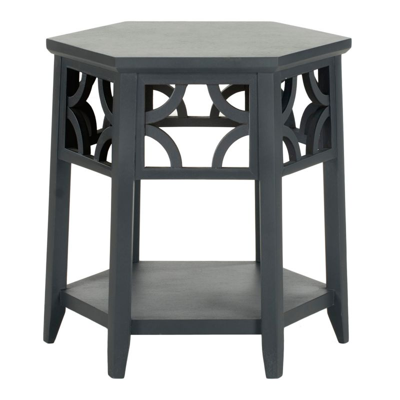 Safavieh Connor Hexagon End Table, Grey (Charcoal)