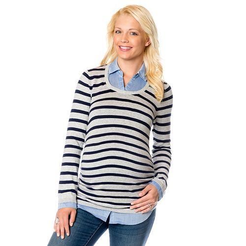 dbee7918c4b Maternity Oh Baby by Motherhood™ Mock-Layer Sweater