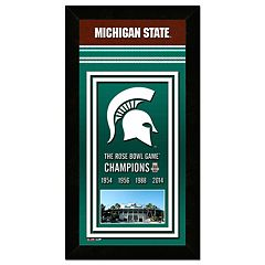 Michigan State Spartans Rose Bowl Champions 4.5' x 27.5' Framed Banner