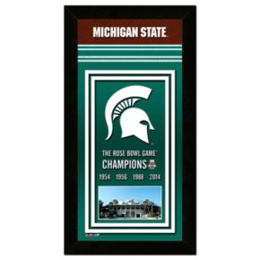 Michigan State Spartans Rose Bowl Champions 4.5'' x 27.5'' Framed Banner