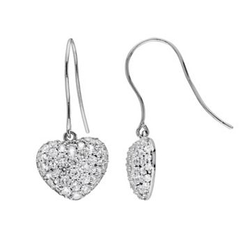 Sterling Silver Lab-Created White Sapphire Heart Drop Earrings