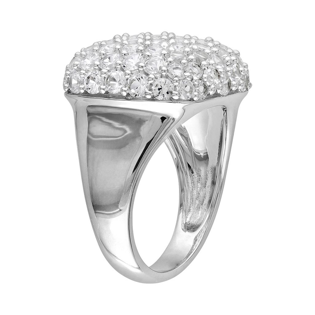 Sterling Silver Lab-Created White Sapphire Square Ring