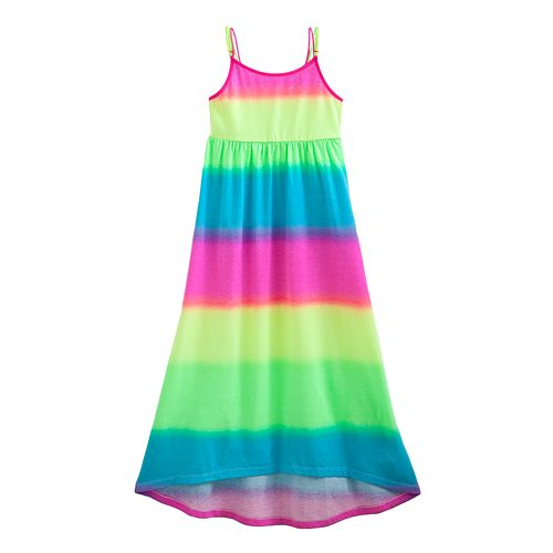 52464e511a6 Girls  Plus Size SO® Rainbow-Striped Hi-Low Maxi Dress