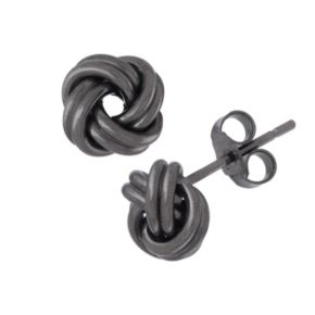 Black Rhodium-Plated Sterling Silver Love Knot Stud Earrings