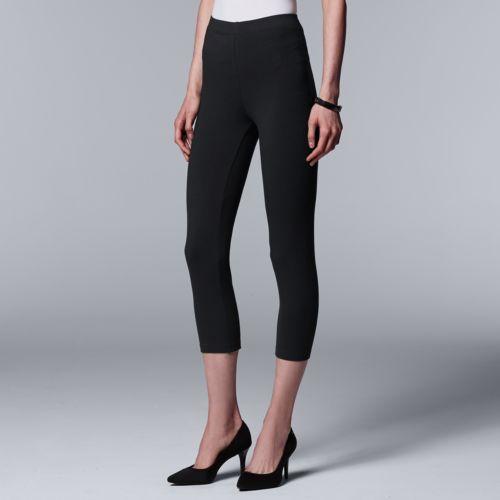 Vera Vera Wang Low-Rise Cotton Capri Leggings